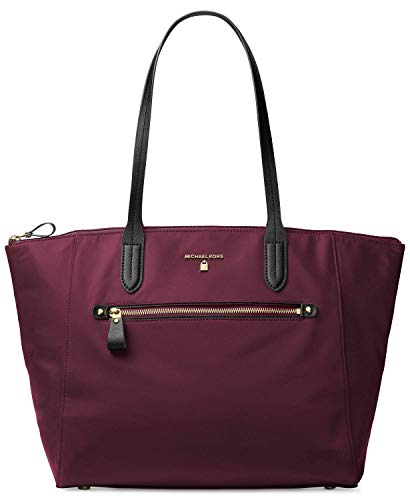 (Michael Michael Kors Kelsey Large Top Zip Nylon Tote, Plum )