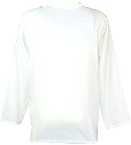 Guru Goa Coton boutique Yoga Pour Hommes Chemise Brodée Blanc Chemises marron rHqr6wZ71