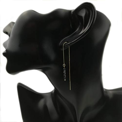 Hematite Gun Metal Crystal Beads Threader Earrings,Dainty Gold Plated Box Chain Long Drop Dangle Earrings,Minimalist Pull Through 925 Silver Ear Post Earrings(Gun Metal)