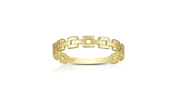 14K Yellow Gold Finish 1.5-3mm Shiny Fancy Link Ring 7 by IcedTime