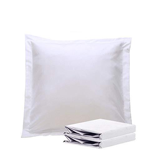 A-home European Square Pillow Shams Set of 2 Pillowcase Euro Shams 26x26 White Pillow Covers 2 Pack, European Pillow Shams White Solid 500 Thread Count 100% Egyptian Cotton