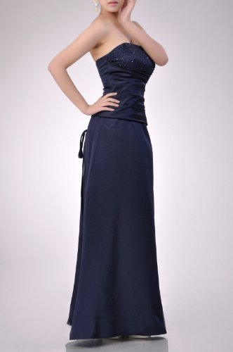 Strapless A Satin Dress Natrual line Occasion Long Goldfarben Beading Bridesmaid Special anZ5A