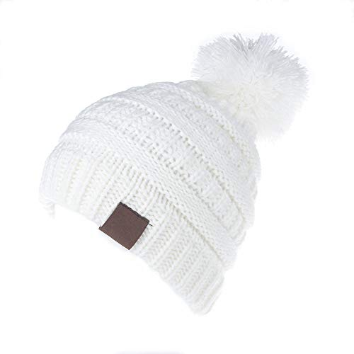 KPWIN Toddler Winter Hats, Baby Kids Toddler Cable Knit Winter Beanie Hat with Pom Pom (White)