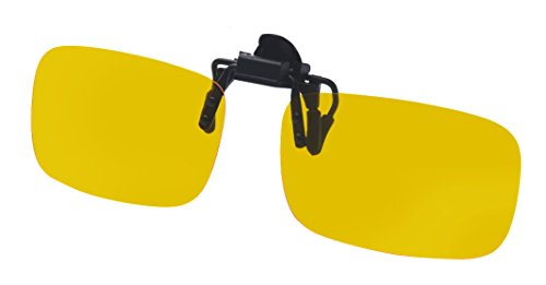 ALWAYSUV Yellow Night Vision Polarized Clip-on Flip up Plastic Clip Sunglasses - Driving Glare Glasses No