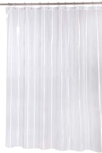 Utopia Home Water-Repellent Antibacterial and Mildew Resistant Fabric 72-Inch-by-72-Inch Shower Curtain, Clear Eva Magnet