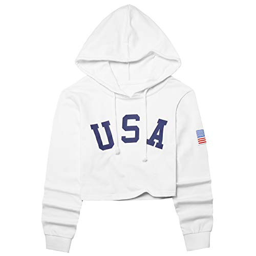 America Flag Cropped Hoodie for Women USA Letter