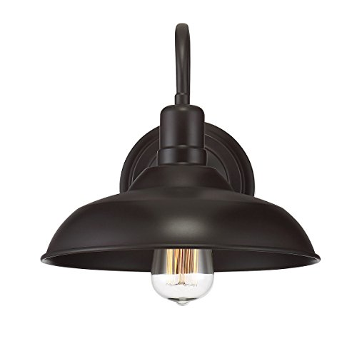 Rubbed Bronze Outdoor Sconce - Trade Winds Lighting TW50008ORB Industrial Retro Vintage Gooseneck Barn 1-Light Transitional OutdoorWall Sconce, 100 Watts with Metal Shade, in Oil Rubbed Bronze