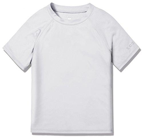 TSLA UPF 50+ Short Sleeve Rashguard Youth Surf Kids Swim Top, Swim Shirts(bss30) - White, X-Small (8)