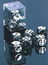 Silver Plated 16mm 6 Sided Dice 2 in Box by Chessex - Dice Metal Chessex