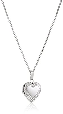 Sterling Silver Children's Petite Embossed Heart Locket Pendant Necklace , 15""