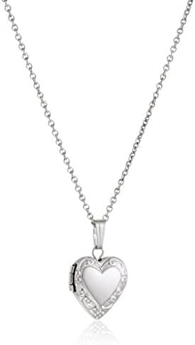 Sterling Silver Children's Petite Embossed Heart Locket Pendant Necklace , 15