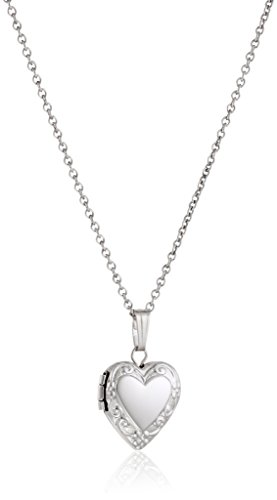 Sterling Silver Children's Petite Embossed Heart Locket Pendant Necklace, 15