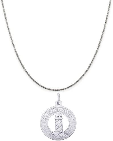 18 or 20 inch Rope Rembrandt Charms Two-Tone Sterling Silver Nova Scotia Charm on a Sterling Silver 16 Box or Curb Chain Necklace
