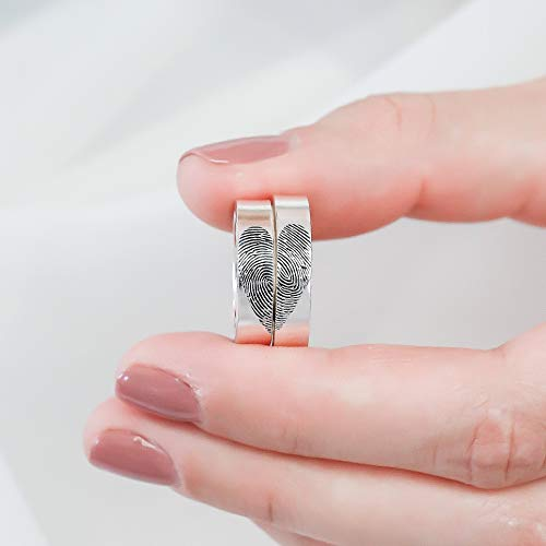 (SET OF 2: Fingerprint Rings Actual FingerPrint Jewelry Couple Rings Wedding Band Memorial Jewelry Anniversary Gift for Him)