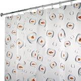 Clear Vinyl Fish Shower Curtain InterDesign Novelty EVA Shower Curtain, 72 x 72-Inch, Bubble Fish