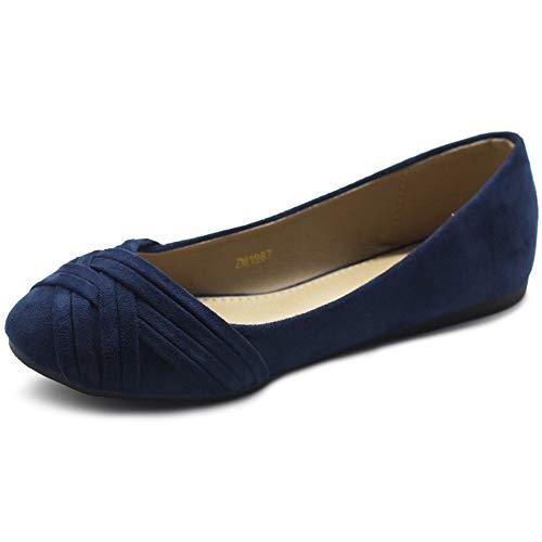 Ollio Women's Ballet Shoe Cute Casual Comfort Flat ZM1987(6.5 B(M) US, Navy)