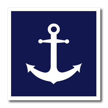 3dRose ht_165798_3 Navy Blue and White Nautical Anchor Design Iron on Heat Transfer for White Material, 10 by - Transfers On Iron Anchor