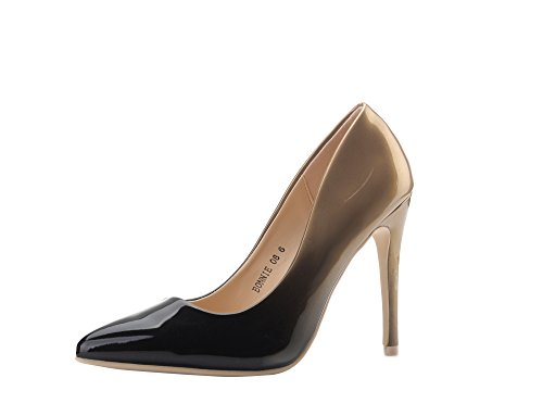 Mila Lady (BONNIE08 Women Fashion Embellished Sparkles Contrast Color Pointed Toe Pumps High Heel Stilettos Sexy Slip On Dress Shoes, Black/PEW ()