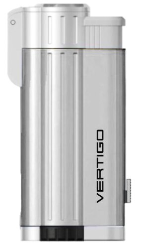 (Vertigo Blaster Triple Torch Flame Lighter w/ Cigar Punch - Brushed Chrome & Polished Chrome)