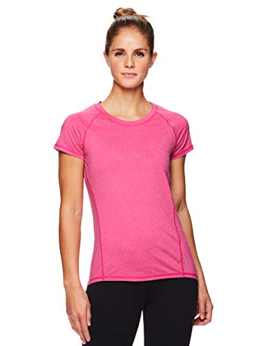 Out Womens Pink T-shirt - HEAD Women's Short Sleeve Workout Scoop Neck T-Shirt - Performance Tennis Crew Neck Activewear Top - Pink Peacock Heather Coastal Tonal, X-Small
