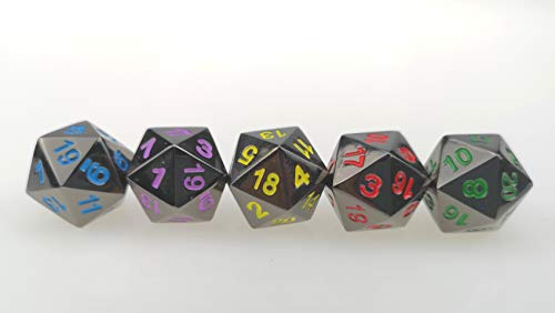 Rollooo 5 Pack of Heavy Solid Metal D20 Dice Black for sale  Delivered anywhere in USA