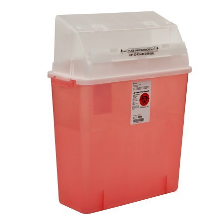 Covidien 31314886 Sharps-A-Gator Safety In Room Sharps Container with Counterbalance Lid, 3 gal Capacity, Transparent Red (Pack of 12) by COVIDIEN