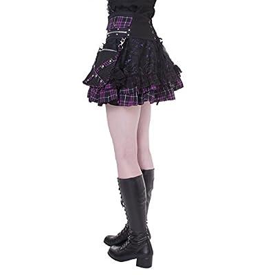 Lolita Charm Women's Punk Lolita Nana Skirt-One Size-Black and Purple at Women's Clothing store