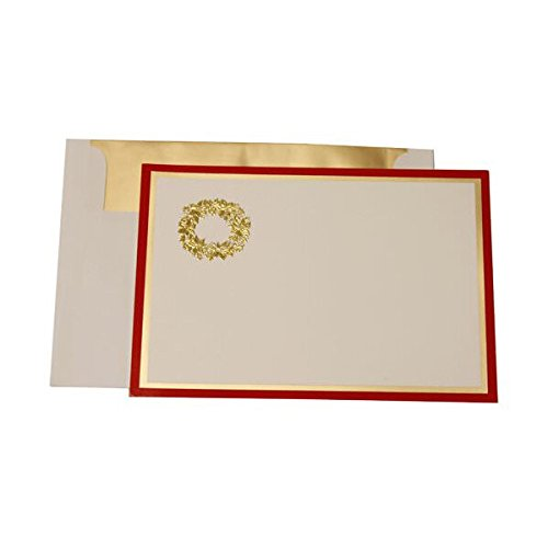 - JAM Paper Foil Christmas Holiday Cards - Wreath with Red and Gold Border with Gold Matte Envelopes - 25/pack
