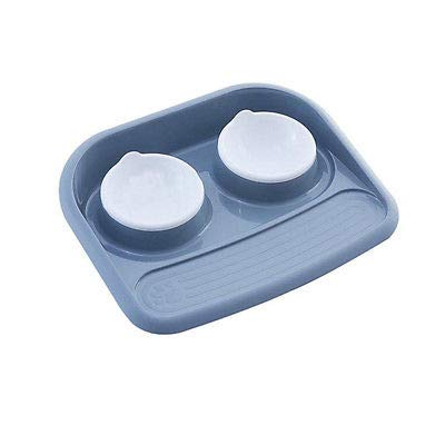 FidgetFidget Pet Food Bowl Dog Cat Water Iron Stand Stainless Steel Dish Puppy Feeder Doubl Gray