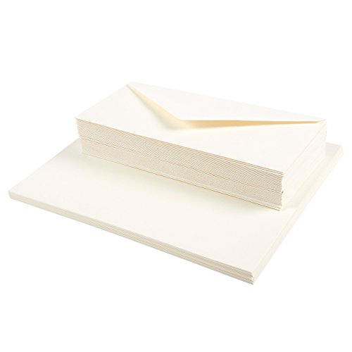 Resume Paper and Envelopes - 50-Count #10 Cotton Business Envelopes and 50-Count 28lb Business Paper Stationery for Resume, Legal Documents, 8.5 x 11 Inches, Ivory by Juvale