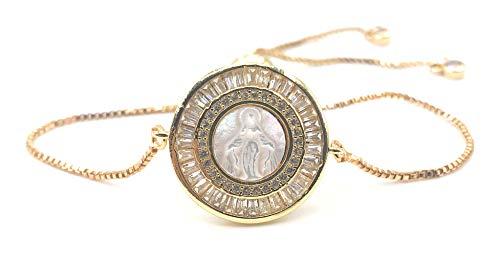 Miraculous Medal Adjustable Sliding Chain Bracelet - Virgin Mary Bangle
