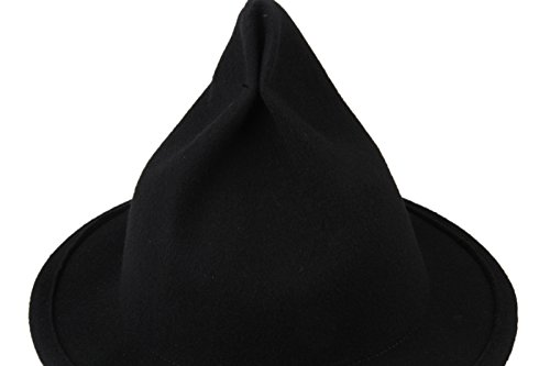 Dantiya Women's Wool Felt Candy Colored Sharp Pointed Witch Hat (Black)