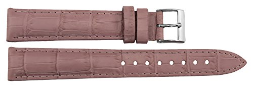 Citime Pink Leather Band Replacement Alligator Pattern, Pin Clasp, 16mm Strap _ B16PinAli81S