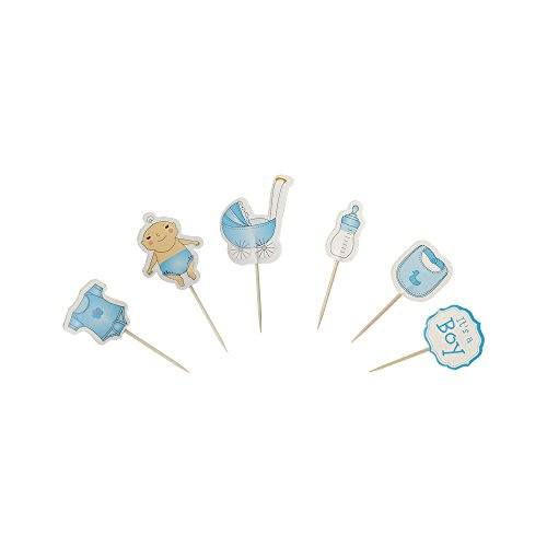 Baby Shower Favors Cake Decorations - 52 PCS Blue Bottle Clothes Baby Carriage Boys Baby Shower Cake Cupcake Toppers Picks for Baby Shower Birthday Party Favor Decorations