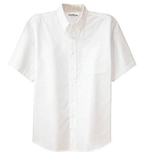 Clothe Co. Mens Big & Tall Short Sleeve Wrinkle Resistant Easy Care Button Up Shirt, White/Light Stone, 4XLT