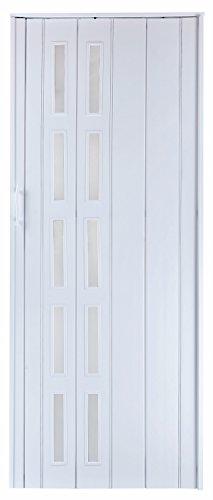 Falttür Schiebetür Tür weiss farben mit Fenster blickdicht Höhe 202 cm Einbaubreite bis 83 cm Doppelwandprofil Neu