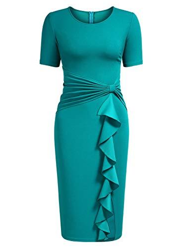 (AISIZE Women's 50s Vintage Ruffle Draped Short Sleeve Bodycon Cocktail Knee Dress)