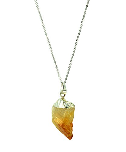 Natural Rough Rock Raw Yellow Citrine Pendant Necklace 18