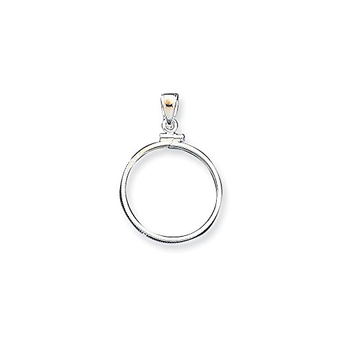 .925 Sterling Silver Quarter Coin Holder Bezel Charm Pendant (Does Not Include Coin) -