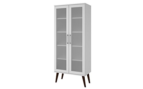 Manhattan Comfort Serra 2.0 Bookcase Collection Modern 5 Shelf Bookcase Display Case with 2 Glass Doors and Splayed Wooden Legs, White