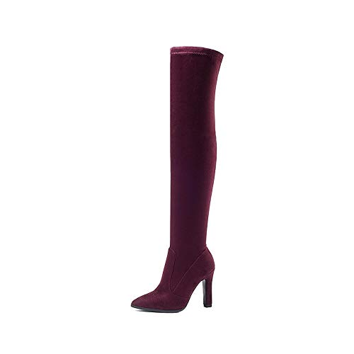 HAOLIEQUAN Frauen Über Die Stiefel Slip Slip Slip On Winter Schuhe Thin High Heel Schuhe Alle Passen e4fe57