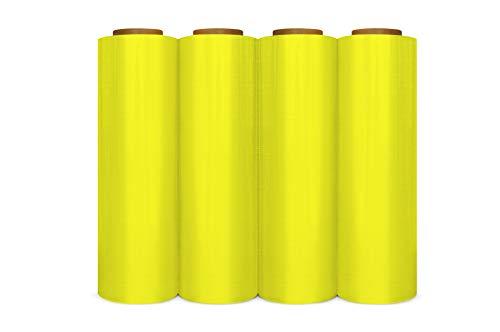 Yellow Color Hand Bundling Stretch Wrap Film 18 Inch x 1500 Feet x 80 Gauge 4 Rolls
