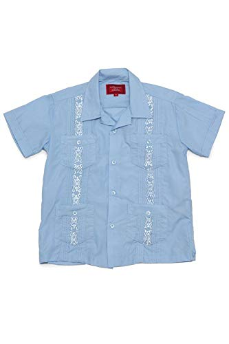 (G-Style USA Boys Junior Kids Youth Guayabera Cuban Short Sleeve Collared Embroidered 4 Pocket Cotton Blend Shirt 2017-KS - Light Blue - 8)