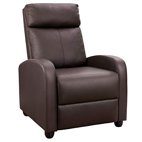 Tuoze Recliner Chair Modern PU Leather Recliners Chair Adjustable Home Theater Seating with Sofa Padded Cushion (Brown)