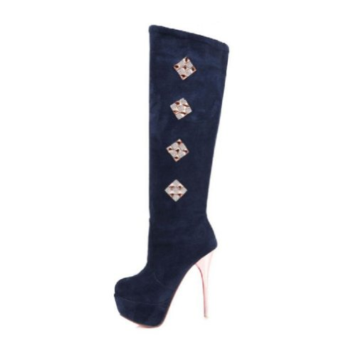 Charm Foot Fashion Womens Platform High Heel Knee High Boots Riding Boots Blue