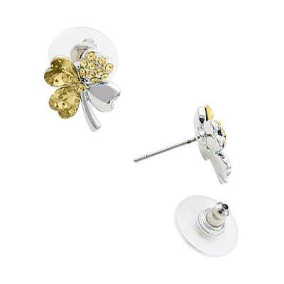 Clous d'Oreille à la Mode, Plaqués en Or Blanc de 18K, Trèfles à Quatre Feuilles en Forme de Cœur Sertis de Strass Jaunes Topazes, 14mm x 13mm