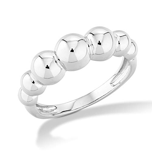 MiaBella Italian 925 Sterling Silver Graduated Bead Ball Ring Jewelry for Women Teens Girls sz 5-6-7-8-9-10 (Sterling-Silver, ()