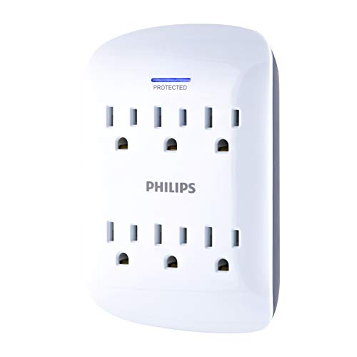 Philips 6-Outlet Surge Protector Tap, 900 Joules, Space Saving Design, Protection Indicator LED Light, Gray & White, SPP3461WA/37
