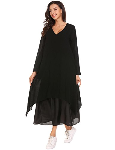 Elover Women V Neck Boho Long Maxi Dress Vintage Loose Long Sleeve Cotton Linen Dresses Studded Pocket Dress