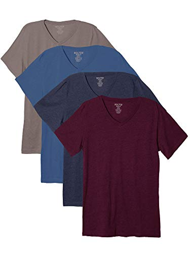 Bolter 4 Pack Men's Everyday Cotton Blend V Neck Short Sleeve T Shirt (XXX-Large, H.Blu/H.NVY/H.Bk/H.Red)